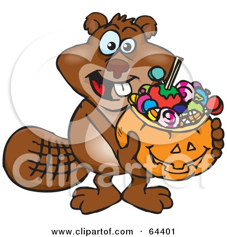 Royalty-Free (RF) Clipart Illustration of a Trick Or Treating Beaver Holding A Pumpkin Basket Full Of Halloween Candy by Dennis Holmes Designs