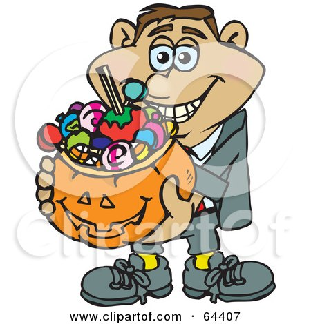 Royalty-Free (RF) Clipart Illustration of a Trick Or Treating Man Holding A Pumpkin Basket Full Of Halloween Candy - Version 4 by Dennis Holmes Designs