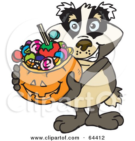 Royalty-Free (RF) Clipart Illustration of a Trick Or Treating Badger Holding A Pumpkin Basket Full Of Halloween Candy by Dennis Holmes Designs