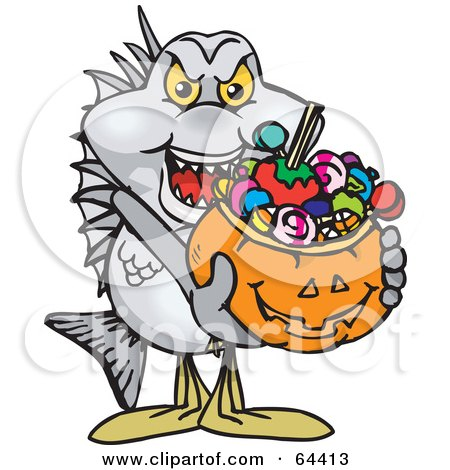 Royalty-Free (RF) Clipart Illustration of a Trick Or Treating Bream Holding A Pumpkin Basket Full Of Halloween Candy by Dennis Holmes Designs