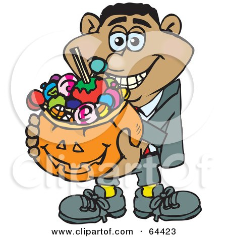 Royalty-Free (RF) Clipart Illustration of a Trick Or Treating Man Holding A Pumpkin Basket Full Of Halloween Candy - Version 3 by Dennis Holmes Designs