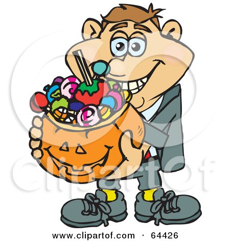 Royalty-Free (RF) Clipart Illustration of a Trick Or Treating Man Holding A Pumpkin Basket Full Of Halloween Candy - Version 1 by Dennis Holmes Designs