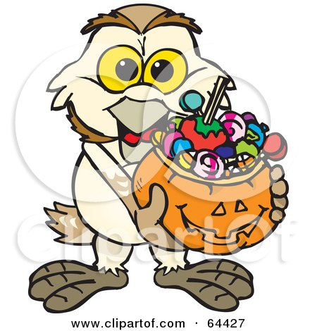 Royalty-Free (RF) Clipart Illustration of a Trick Or Treating Barn Owl Holding A Pumpkin Basket Full Of Halloween Candy by Dennis Holmes Designs