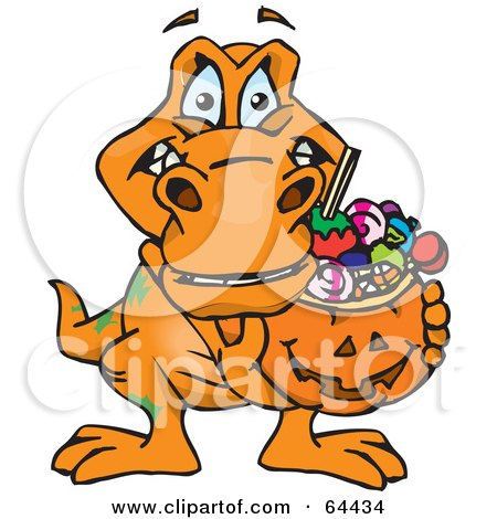 Royalty-Free (RF) Clipart Illustration of a Trick Or Treating T Rex Holding A Pumpkin Basket Full Of Halloween Candy by Dennis Holmes Designs