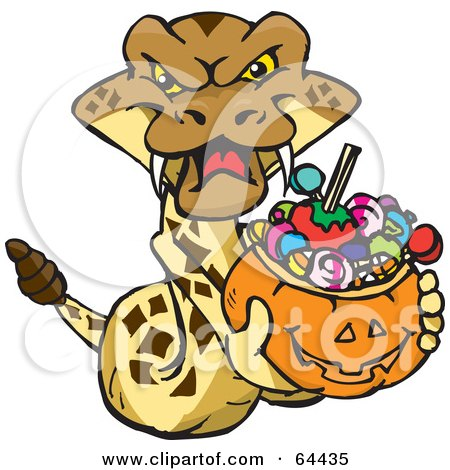 Royalty-Free (RF) Clipart Illustration of a Trick Or Treating Rattlesnake Holding A Pumpkin Basket Full Of Halloween Candy by Dennis Holmes Designs