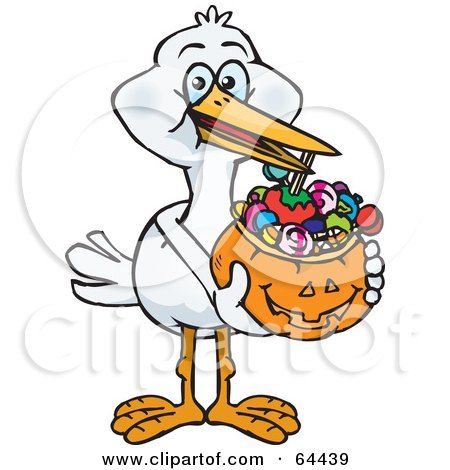 Royalty-Free (RF) Clipart Illustration of a Trick Or Treating Stork Holding A Pumpkin Basket Full Of Halloween Candy by Dennis Holmes Designs