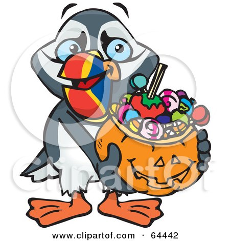 Royalty-Free (RF) Clipart Illustration of a Trick Or Treating Puffin Holding A Pumpkin Basket Full Of Halloween Candy by Dennis Holmes Designs