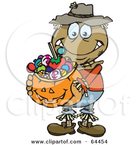 Royalty-Free (RF) Clipart Illustration of a Trick Or Treating Scarecrow Holding A Pumpkin Basket Full Of Halloween Candy by Dennis Holmes Designs