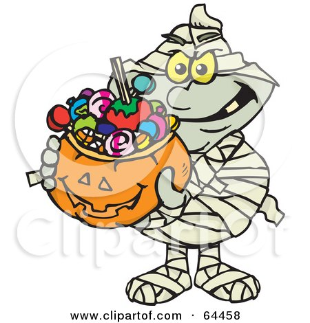 Royalty-Free (RF) Clipart Illustration of a Trick Or Treating Mummy Holding A Pumpkin Basket Full Of Halloween Candy by Dennis Holmes Designs