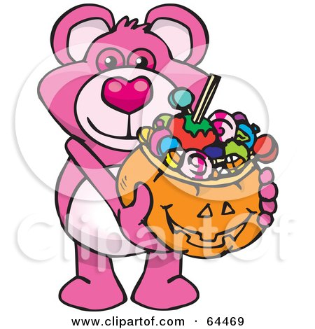 Royalty-Free (RF) Clipart Illustration of a Trick Or Treating Pink Teddy Bear Holding A Pumpkin Basket Full Of Halloween Candy by Dennis Holmes Designs