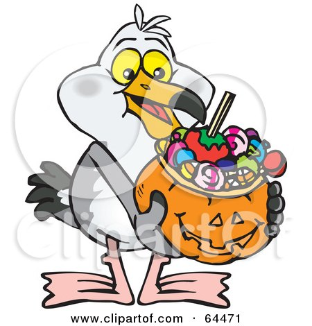 Royalty-Free (RF) Clipart Illustration of a Trick Or Treating Seagull Holding A Pumpkin Basket Full Of Halloween Candy by Dennis Holmes Designs