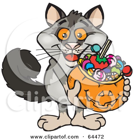 Royalty-Free (RF) Clipart Illustration of a Trick Or Treating Possum Holding A Pumpkin Basket Full Of Halloween Candy by Dennis Holmes Designs