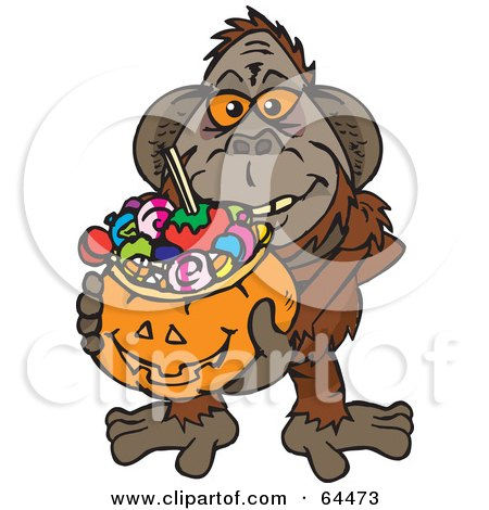 Royalty-Free (RF) Clipart Illustration of a Trick Or Treating Orangutan Holding A Pumpkin Basket Full Of Halloween Candy by Dennis Holmes Designs
