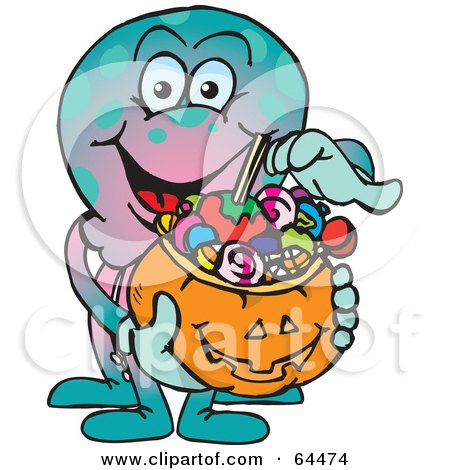 Royalty-Free (RF) Clipart Illustration of a Trick Or Treating Octopus Holding A Pumpkin Basket Full Of Halloween Candy by Dennis Holmes Designs