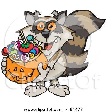 Royalty-Free (RF) Clipart Illustration of a Trick Or Treating Raccoon Holding A Pumpkin Basket Full Of Halloween Candy by Dennis Holmes Designs