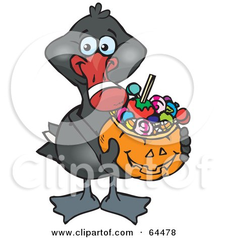 Royalty-Free (RF) Clipart Illustration of a Trick Or Treating Black Swan Holding A Pumpkin Basket Full Of Halloween Candy by Dennis Holmes Designs
