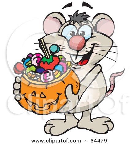 Royalty-Free (RF) Clipart Illustration of a Trick Or Treating Mouse Holding A Pumpkin Basket Full Of Halloween Candy by Dennis Holmes Designs