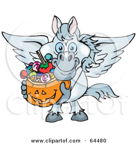 Royalty-Free (RF) Clipart Illustration of a Trick Or Treating Pegasus Holding A Pumpkin Basket Full Of Halloween Candy by Dennis Holmes Designs