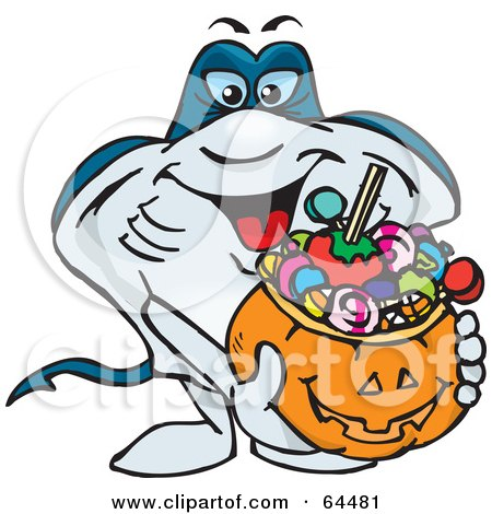 Royalty-Free (RF) Clipart Illustration of a Trick Or Treating Stingray Holding A Pumpkin Basket Full Of Halloween Candy by Dennis Holmes Designs
