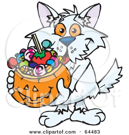 Royalty-Free (RF) Clipart Illustration of a Trick Or Treating Terrier Holding A Pumpkin Basket Full Of Halloween Candy by Dennis Holmes Designs