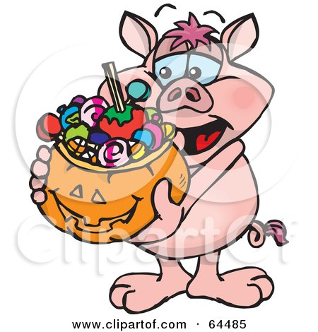 Royalty-Free (RF) Clipart Illustration of a Trick Or Treating Pig Holding A Pumpkin Basket Full Of Halloween Candy by Dennis Holmes Designs