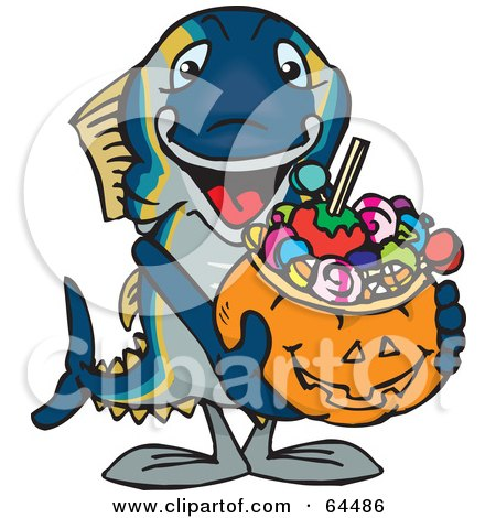 Royalty-Free (RF) Clipart Illustration of a Trick Or Treating Tuna Holding A Pumpkin Basket Full Of Halloween Candy by Dennis Holmes Designs