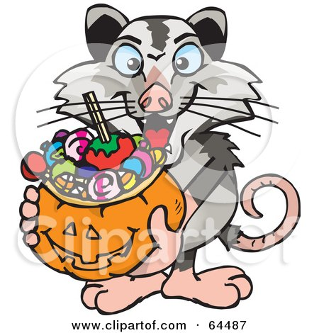 Royalty-Free (RF) Clipart Illustration of a Trick Or Treating Opossum Holding A Pumpkin Basket Full Of Halloween Candy by Dennis Holmes Designs