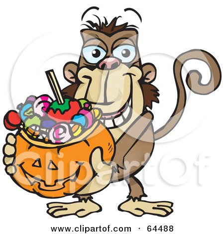 Royalty-Free (RF) Clipart Illustration of a Trick Or Treating Monkey Holding A Pumpkin Basket Full Of Halloween Candy by Dennis Holmes Designs