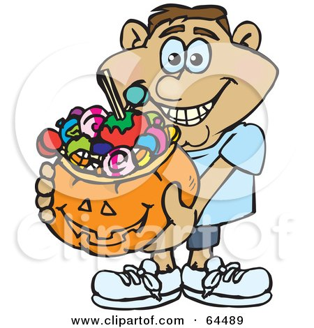 Royalty-Free (RF) Clipart Illustration of a Trick Or Treating Man Holding A Pumpkin Basket Full Of Halloween Candy - Version 8 by Dennis Holmes Designs