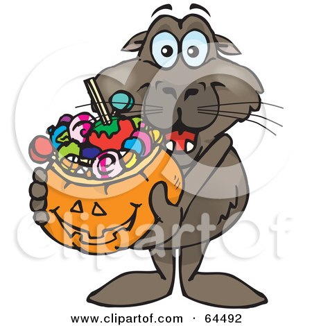 Royalty-Free (RF) Clipart Illustration of a Trick Or Treating Sea Lion Holding A Pumpkin Basket Full Of Halloween Candy by Dennis Holmes Designs