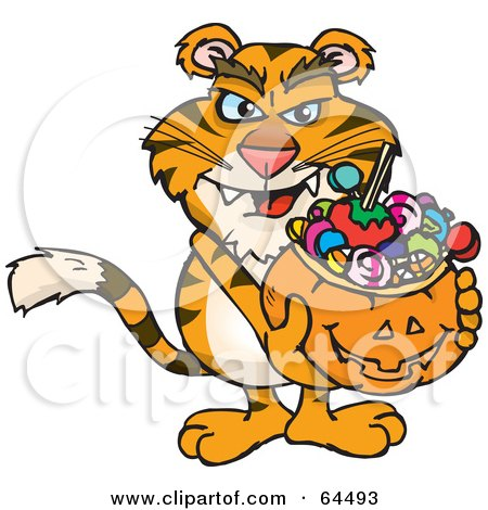 Royalty-Free (RF) Clipart Illustration of a Trick Or Treating Tiger Holding A Pumpkin Basket Full Of Halloween Candy by Dennis Holmes Designs