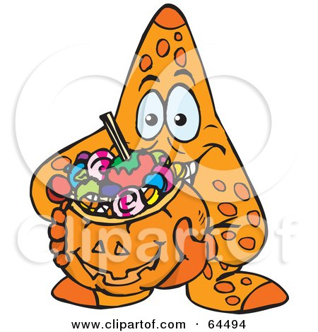 Royalty-Free (RF) Clipart Illustration of a Trick Or Treating Starfish Holding A Pumpkin Basket Full Of Halloween Candy by Dennis Holmes Designs