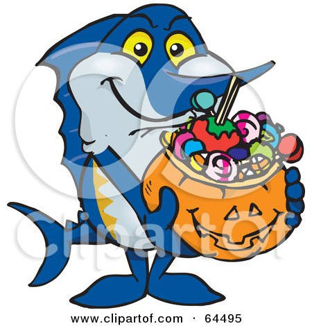 Royalty-Free (RF) Clipart Illustration of a Trick Or Treating Marlin Holding A Pumpkin Basket Full Of Halloween Candy by Dennis Holmes Designs