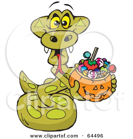 Royalty-Free (RF) Clipart Illustration of a Trick Or Treating Python Holding A Pumpkin Basket Full Of Halloween Candy by Dennis Holmes Designs