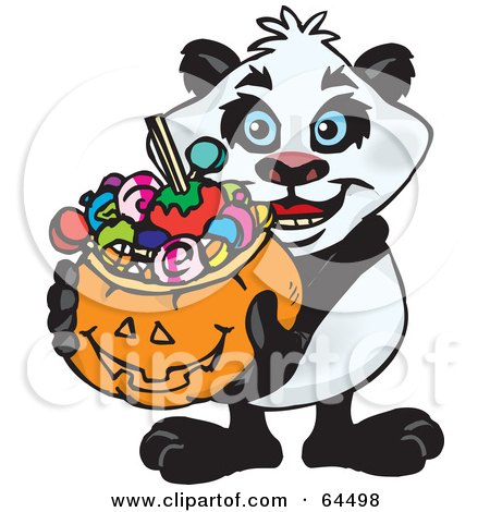Royalty-Free (RF) Clipart Illustration of a Trick Or Treating Panda Holding A Pumpkin Basket Full Of Halloween Candy by Dennis Holmes Designs