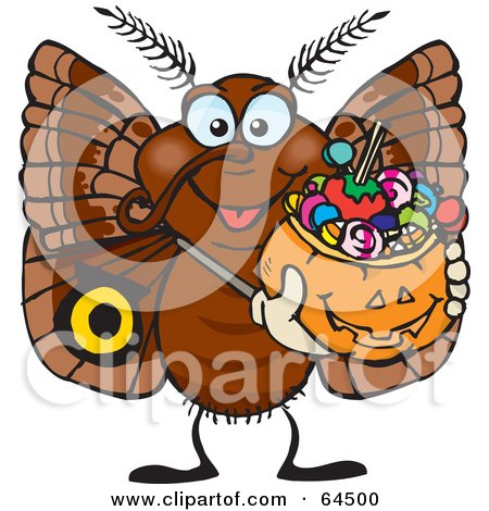 Royalty-Free (RF) Clipart Illustration of a Trick Or Treating Moth Holding A Pumpkin Basket Full Of Halloween Candy by Dennis Holmes Designs