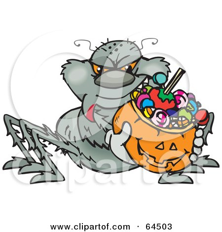 Royalty-Free (RF) Clipart Illustration of a Trick Or Treating Spider Holding A Pumpkin Basket Full Of Halloween Candy by Dennis Holmes Designs