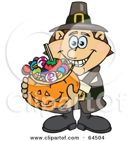 Royalty-Free (RF) Clipart Illustration of a Trick Or Treating Male Pilgrim Holding A Pumpkin Basket Full Of Halloween Candy by Dennis Holmes Designs
