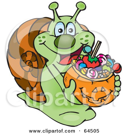 Royalty-Free (RF) Clipart Illustration of a Trick Or Treating Snail Holding A Pumpkin Basket Full Of Halloween Candy by Dennis Holmes Designs