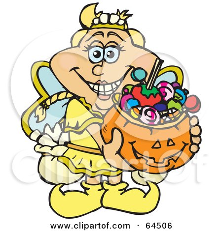 Royalty-Free (RF) Clipart Illustration of a Trick Or Treating Tooth Fairy Holding A Pumpkin Basket Full Of Halloween Candy by Dennis Holmes Designs