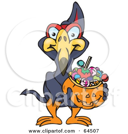 Royalty-Free (RF) Clipart Illustration of a Trick Or Treating Terradactyl Holding A Pumpkin Basket Full Of Halloween Candy by Dennis Holmes Designs