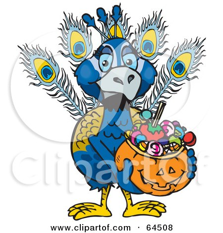 Royalty-Free (RF) Clipart Illustration of a Trick Or Treating Peacock Holding A Pumpkin Basket Full Of Halloween Candy by Dennis Holmes Designs