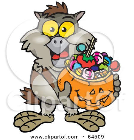 Royalty-Free (RF) Clipart Illustration of a Trick Or Treating Owl Holding A Pumpkin Basket Full Of Halloween Candy by Dennis Holmes Designs