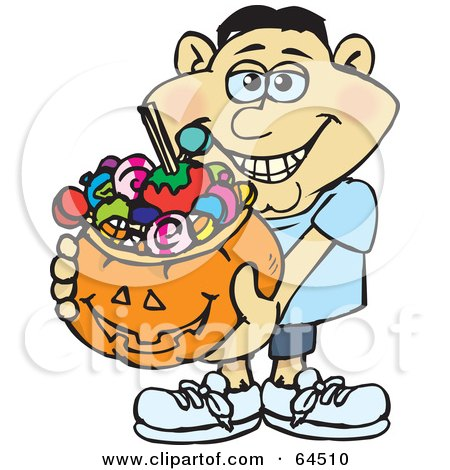 Royalty-Free (RF) Clipart Illustration of a Trick Or Treating Man Holding A Pumpkin Basket Full Of Halloween Candy - Version 6 by Dennis Holmes Designs