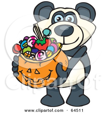 Royalty-Free (RF) Clipart Illustration of a Trick Or Treating Giant Panda Holding A Pumpkin Basket Full Of Halloween Candy by Dennis Holmes Designs