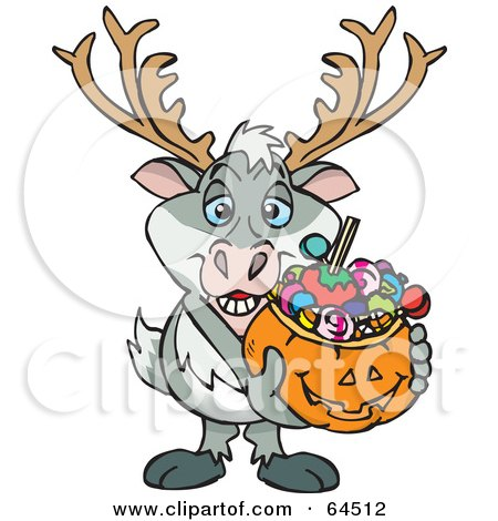 Royalty-Free (RF) Clipart Illustration of a Trick Or Treating Reindeer Holding A Pumpkin Basket Full Of Halloween Candy by Dennis Holmes Designs