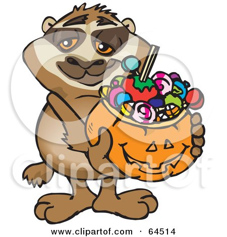 Royalty-Free (RF) Clipart Illustration of a Trick Or Treating Sloth Holding A Pumpkin Basket Full Of Halloween Candy by Dennis Holmes Designs