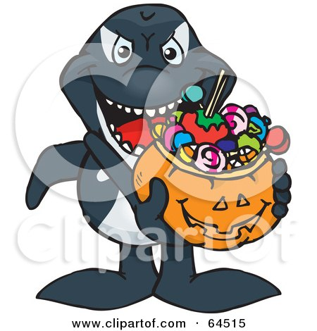 Royalty-Free (RF) Clipart Illustration of a Trick Or Treating Orca Holding A Pumpkin Basket Full Of Halloween Candy by Dennis Holmes Designs