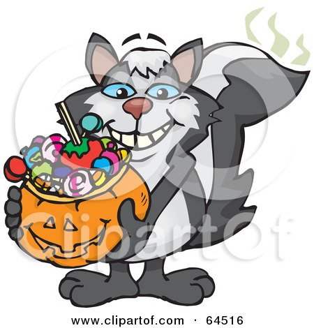 Royalty-Free (RF) Clipart Illustration of a Trick Or Treating Skunk Holding A Pumpkin Basket Full Of Halloween Candy by Dennis Holmes Designs