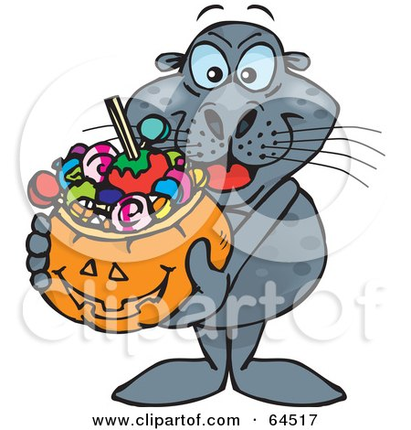 Royalty-Free (RF) Clipart Illustration of a Trick Or Treating Seal Holding A Pumpkin Basket Full Of Halloween Candy by Dennis Holmes Designs